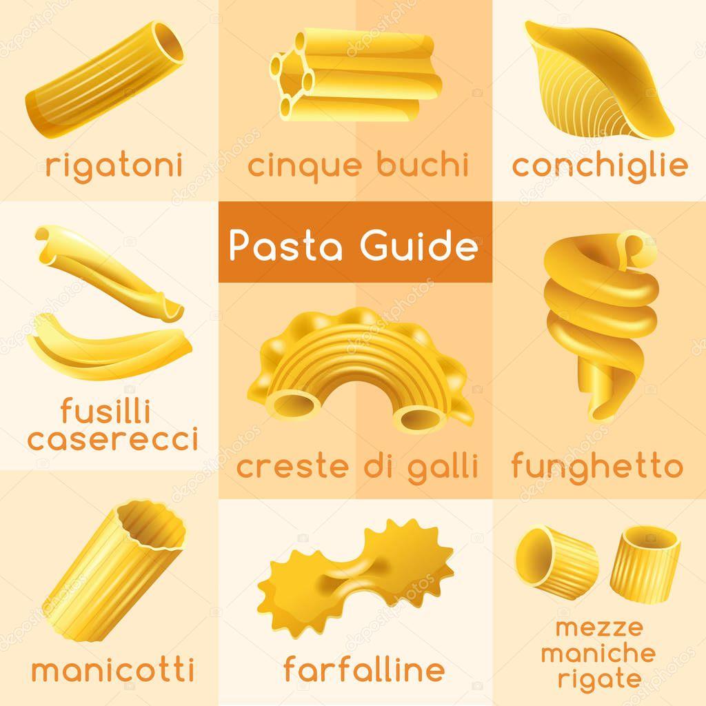 Tipi di pasta italiana illustrazione vettoriale vettoriali stock daraon 147387329 - Diversi tipi di pasta ...