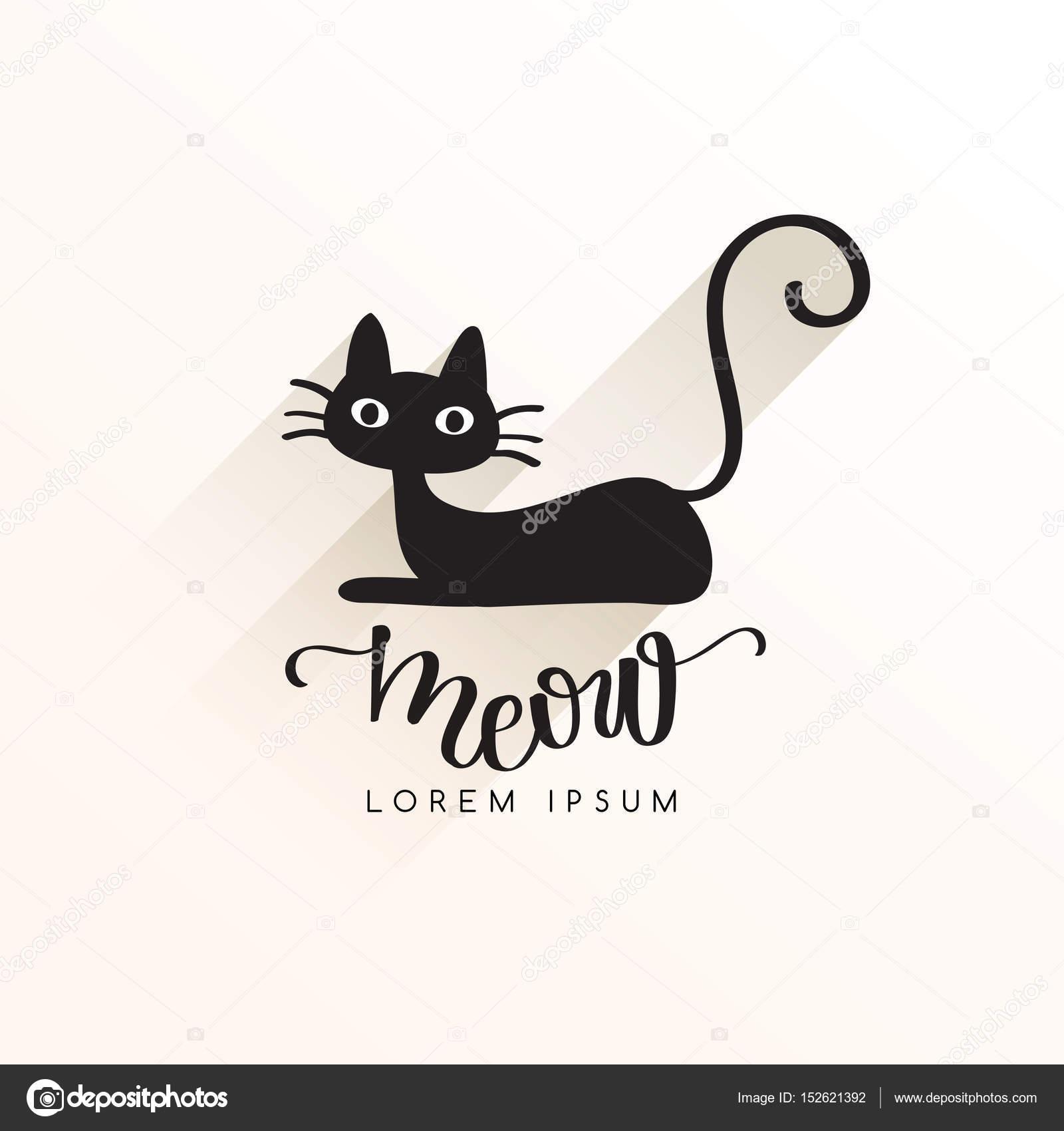 Black Cat Logo Template Vector Illustration Stock Vector