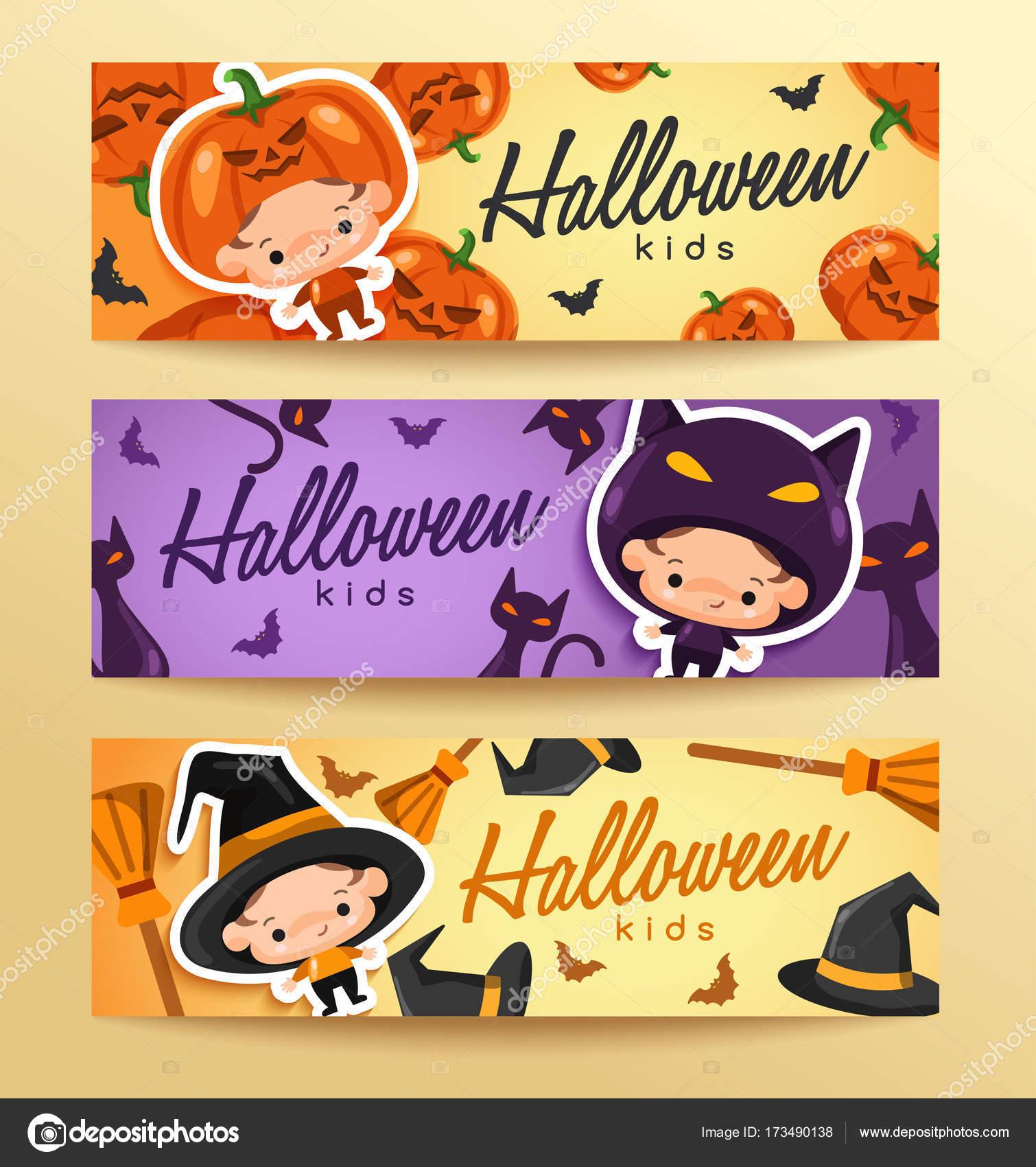 Plantilla de etiqueta de niño Halloween — Vector de stock © daraon ...