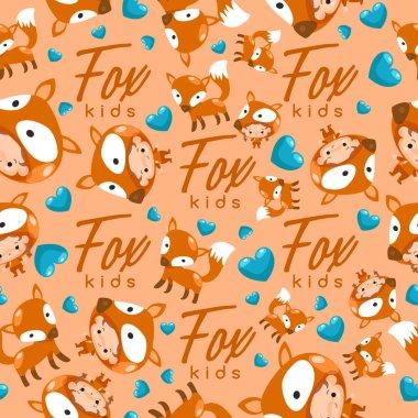 cartoon fox seamless pattern