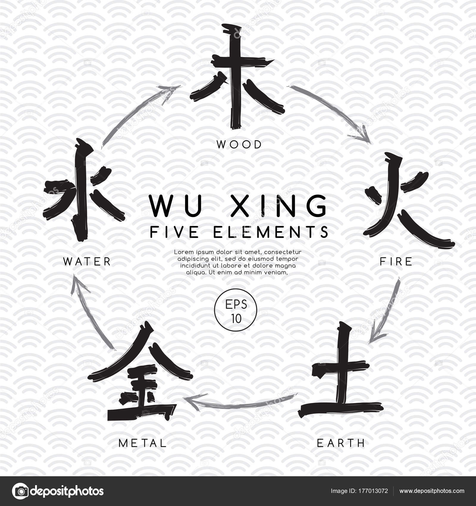 Five Chinese Elements Water Earth Wood Fire Metal Vector