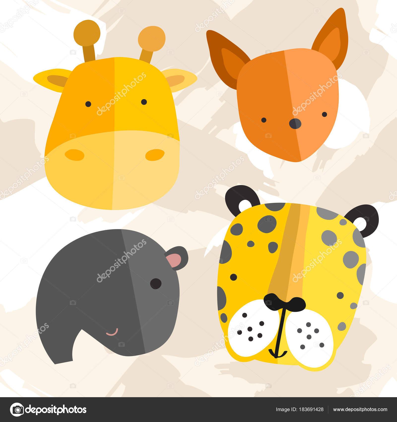 かわいい赤ちゃん動物のセット ベクトル イラスト — ストックベクター