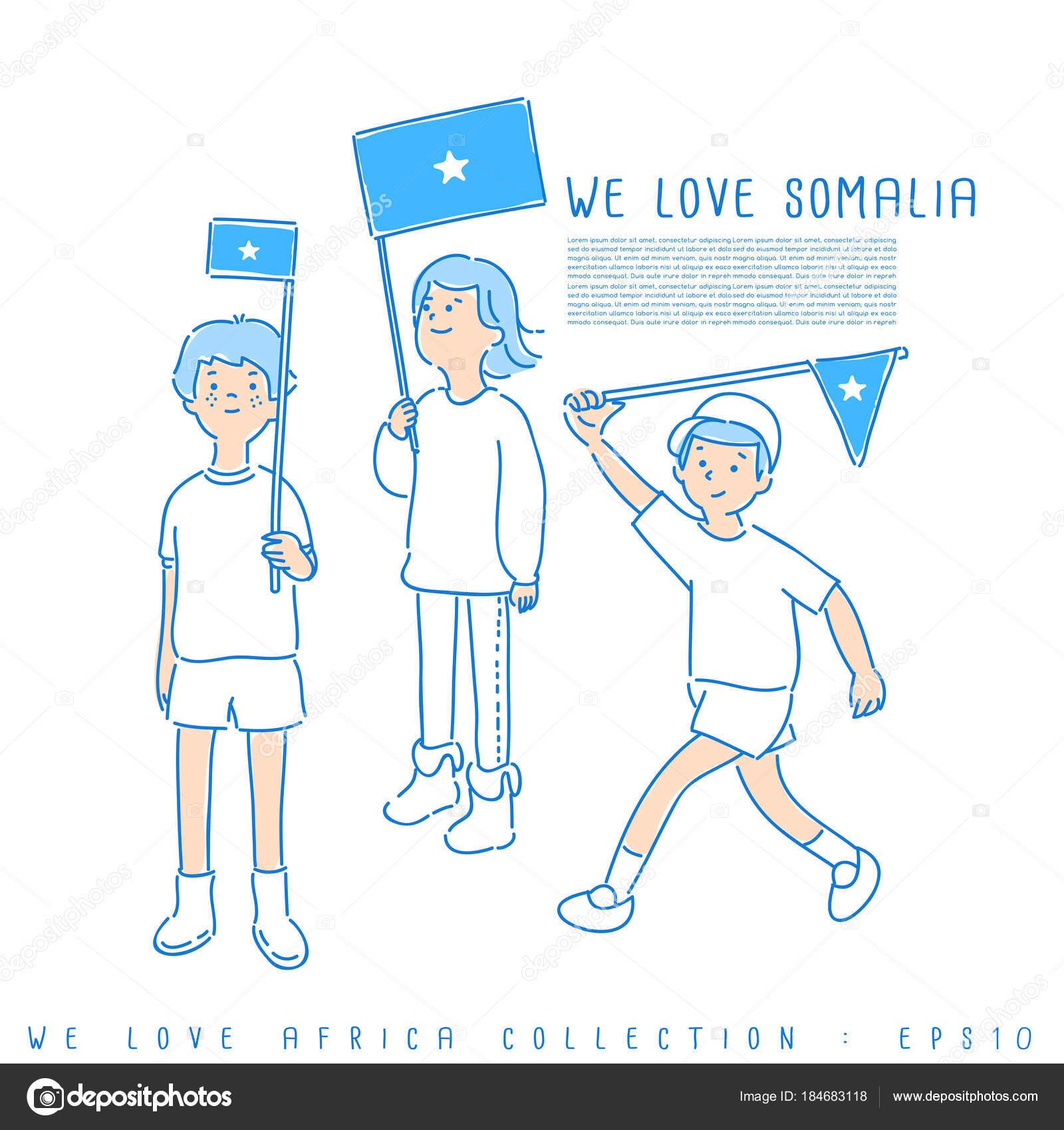 Los Niños Sosteniendo Las Banderas Nos Encanta Somalia Colores ...