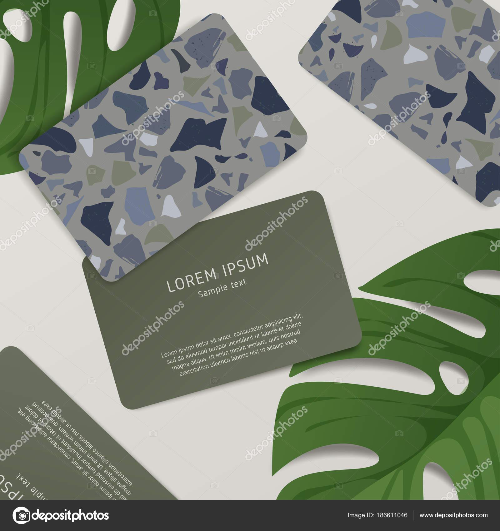 Beautiful Terrazzo Pattern Business Card Template Vector ...