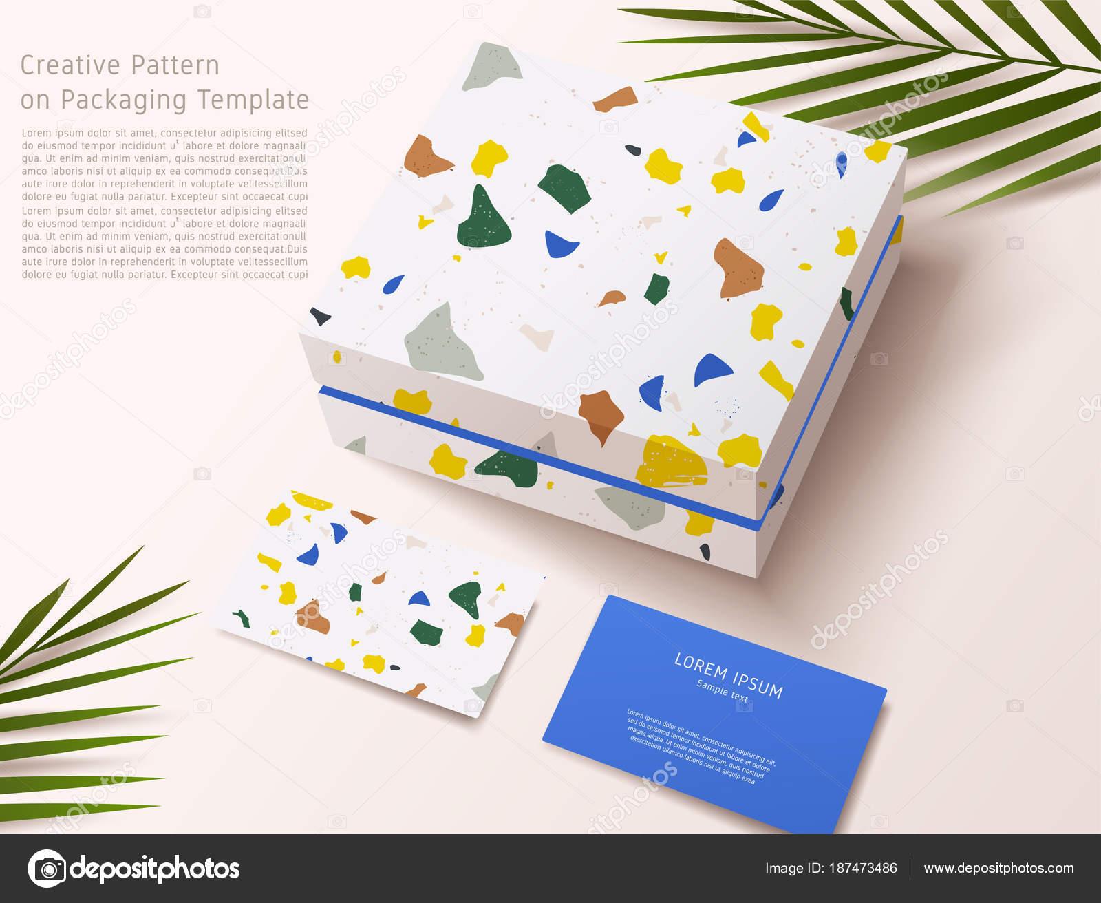 Modele De Terrazzo Sur Le Lemballage Cadeau Boite Et Carte Visite Vector Illustration Stock