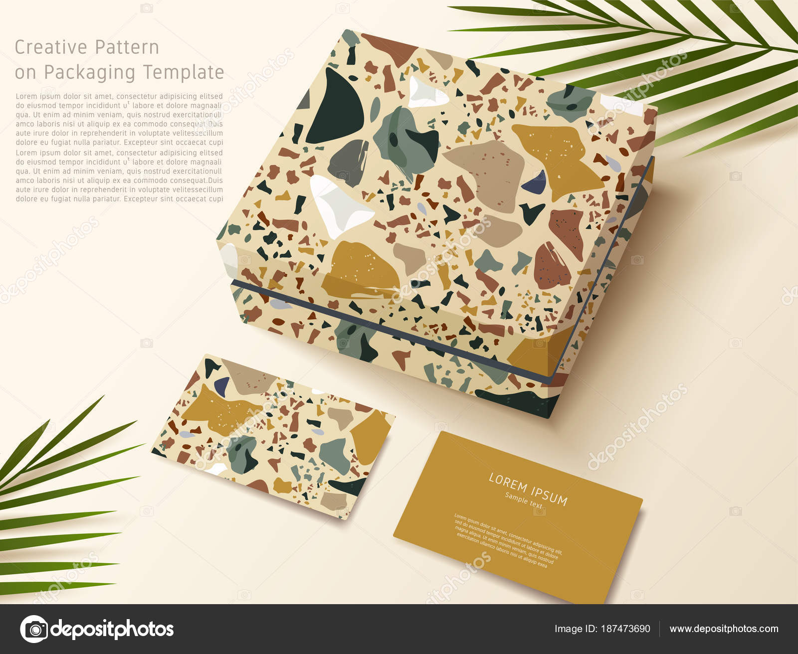 Terrazzo Pattern Packaging Template Gift Box Business Card Vector ...