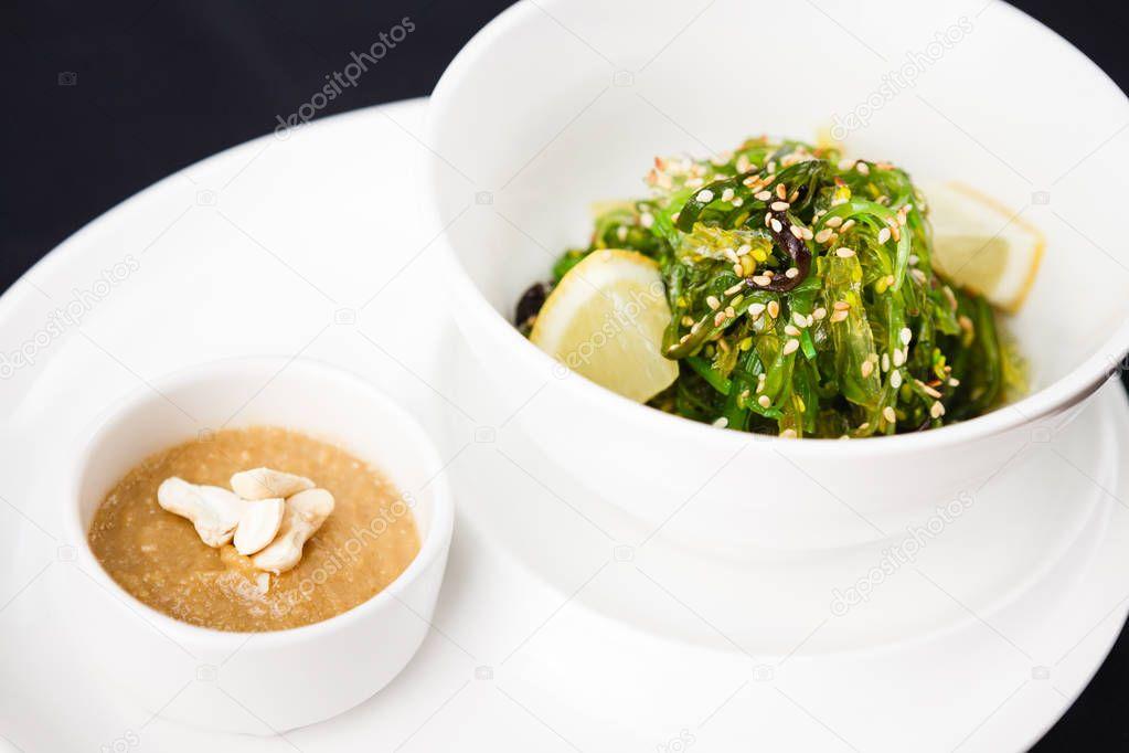 Seaweed salad with a sauce