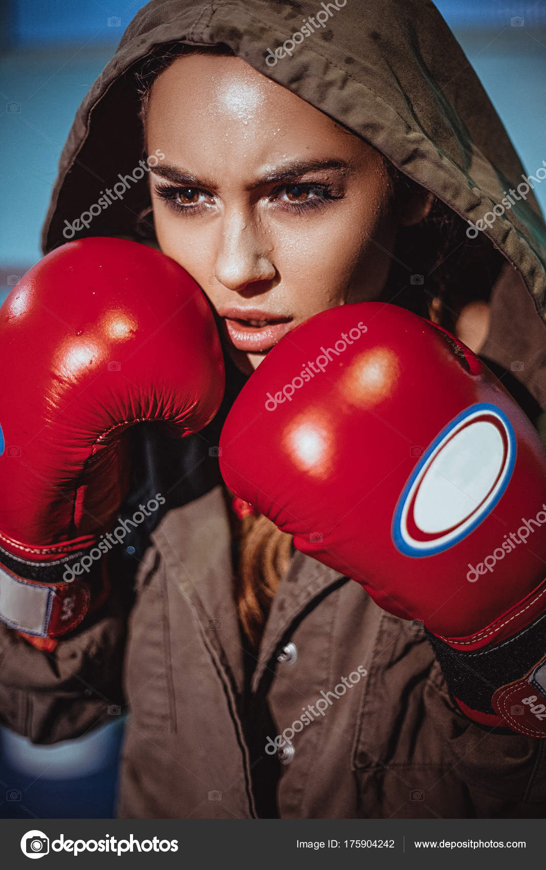 Young Female Boxer Ready Fight Leather Boxing Gloves Sexy ...