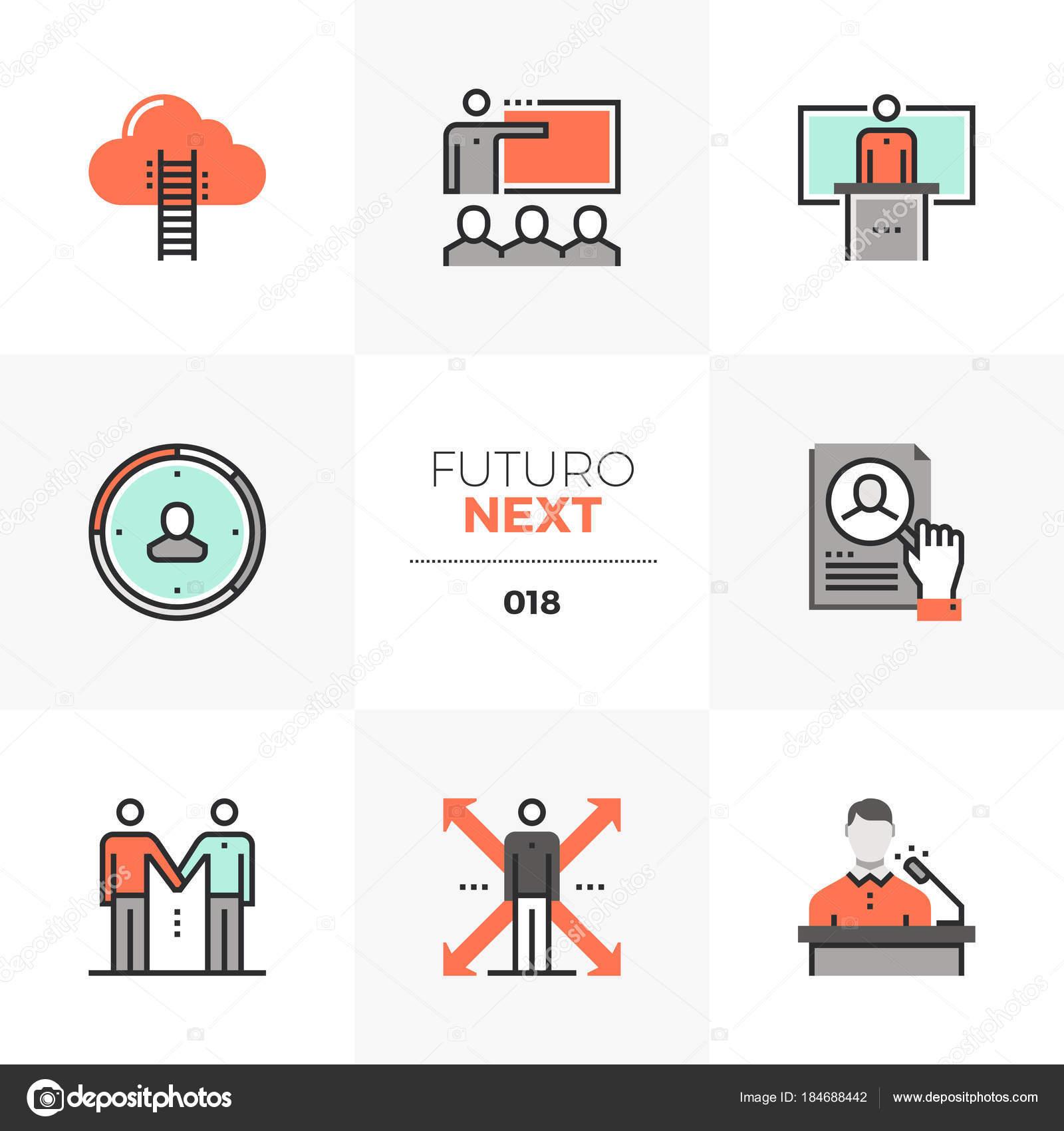 Iconos de Futuro próximo entrenamiento empresarial — Archivo ...