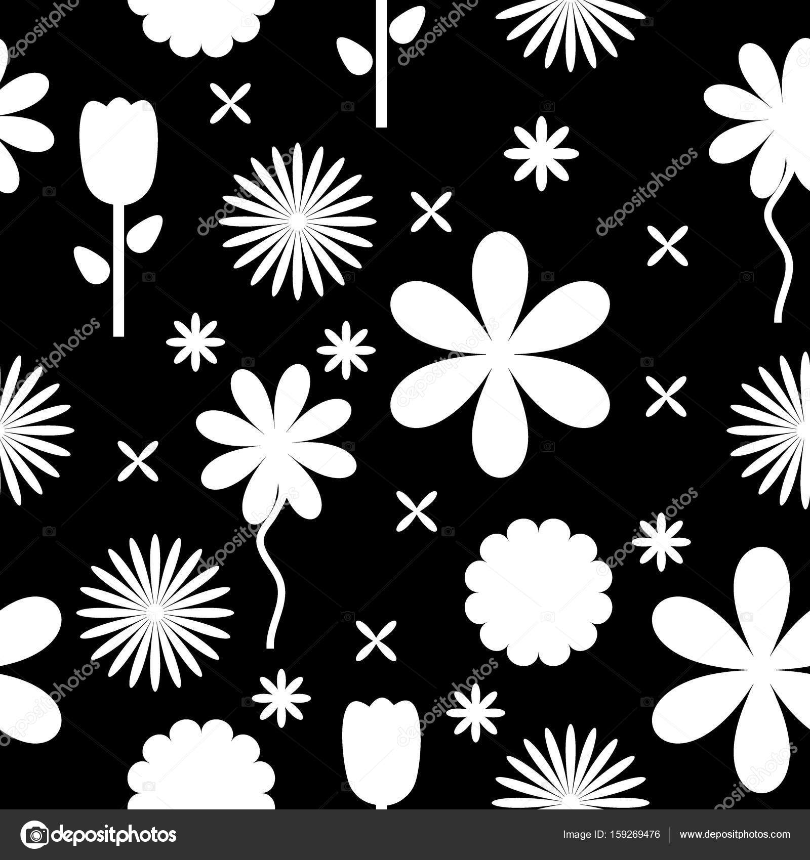 Black And White Flowers Background Pattern Stock Vector