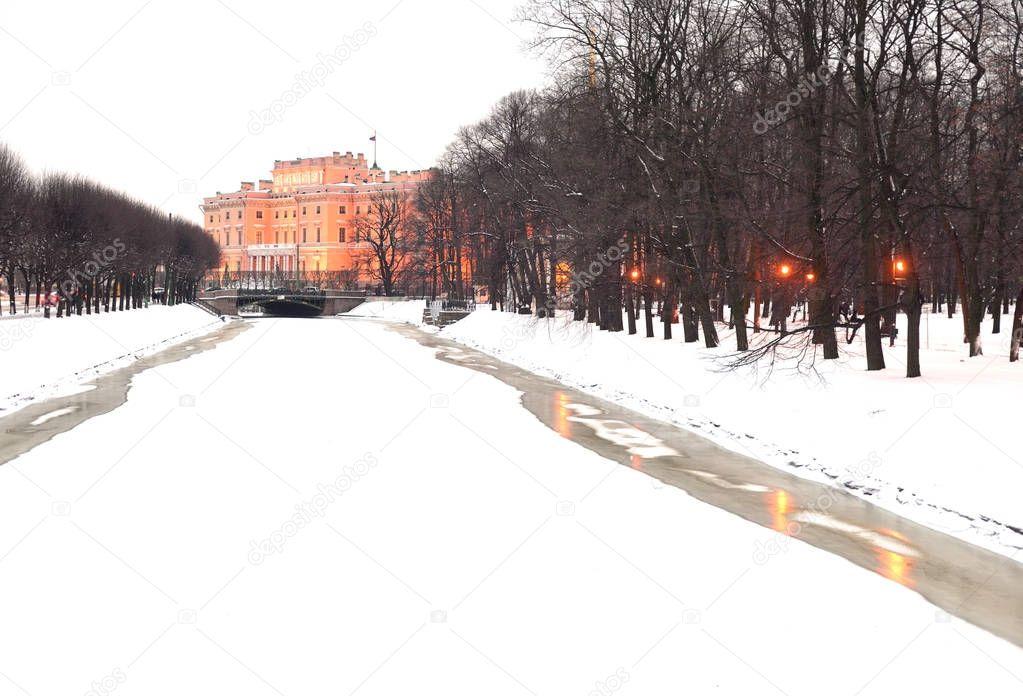 The Mikhailovsky Castle and Moika River.