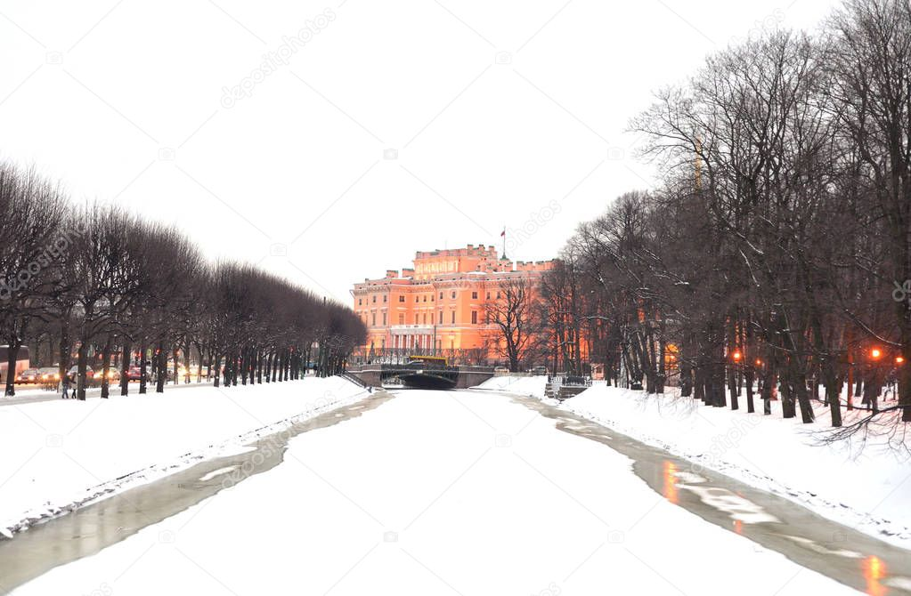 The Mikhailovsky Castle and Moika River.