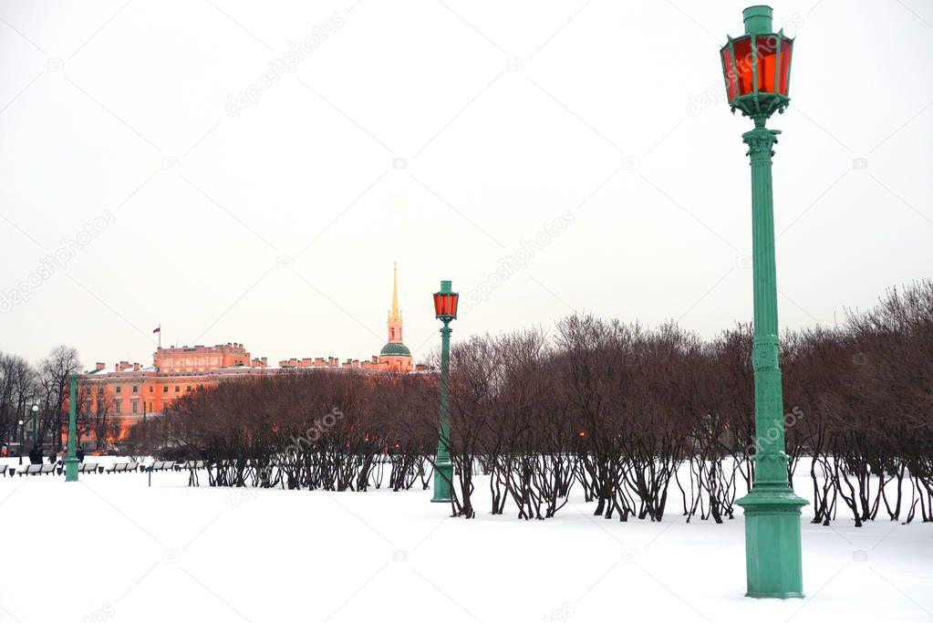 The Mikhailovsky Castle and Field of Mars.