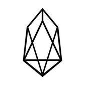 Fotografie Krypto Coin Eos Symbol auf weiß