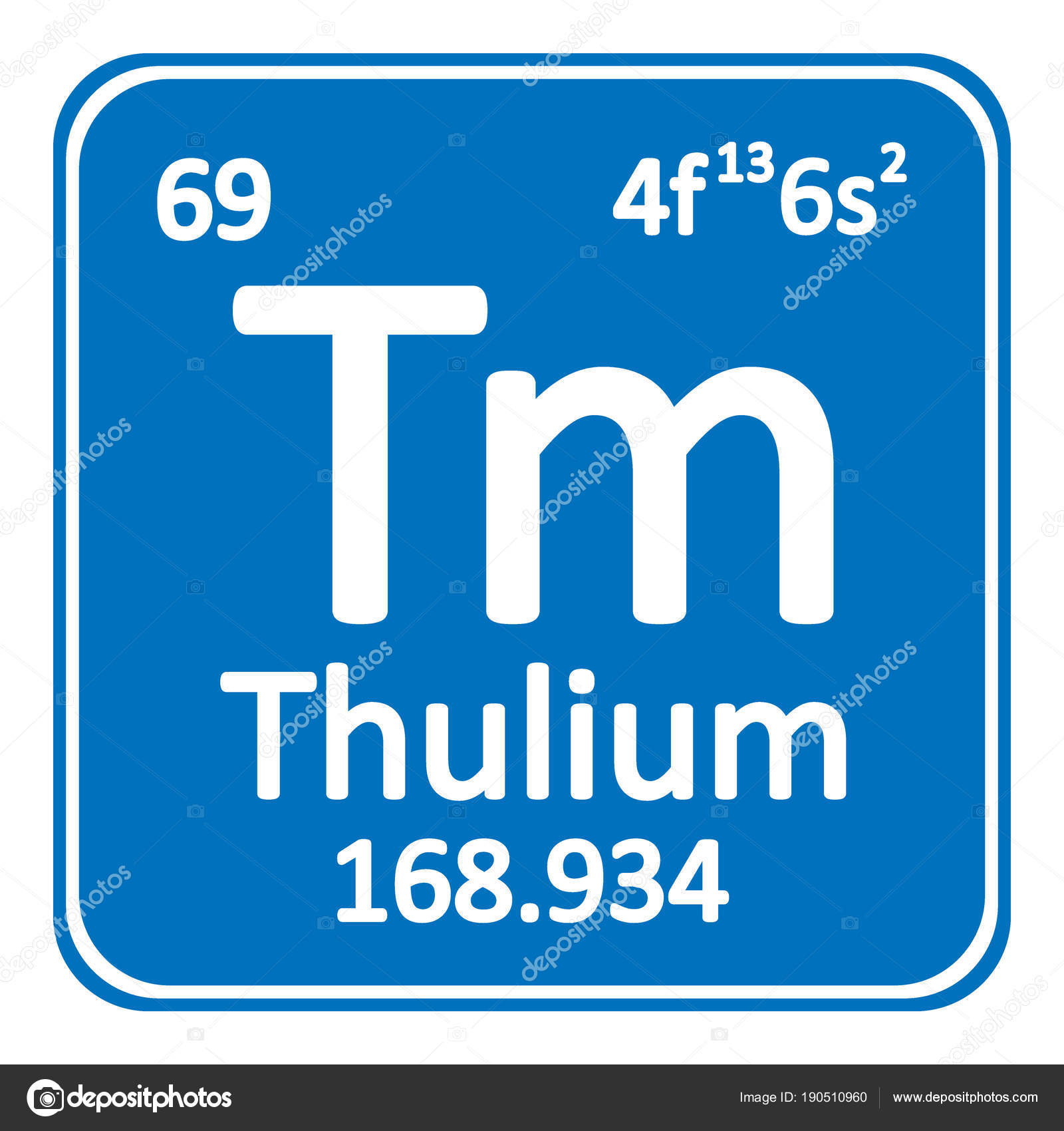 Periodic Table Element Thulium Icon. U2014 Stock Vector