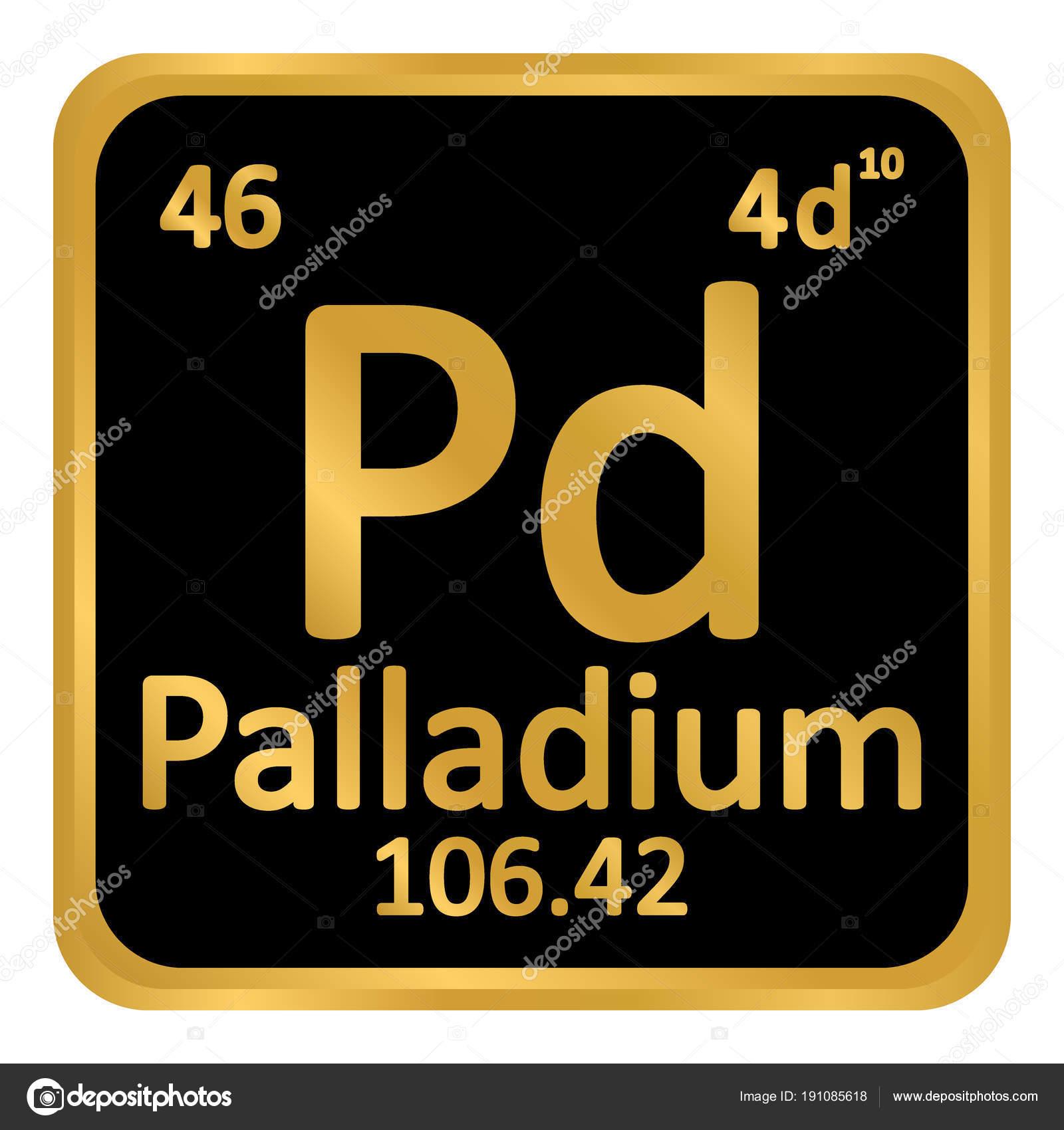 Periodic Table Element Palladium Icon Stock Vector Konstsem