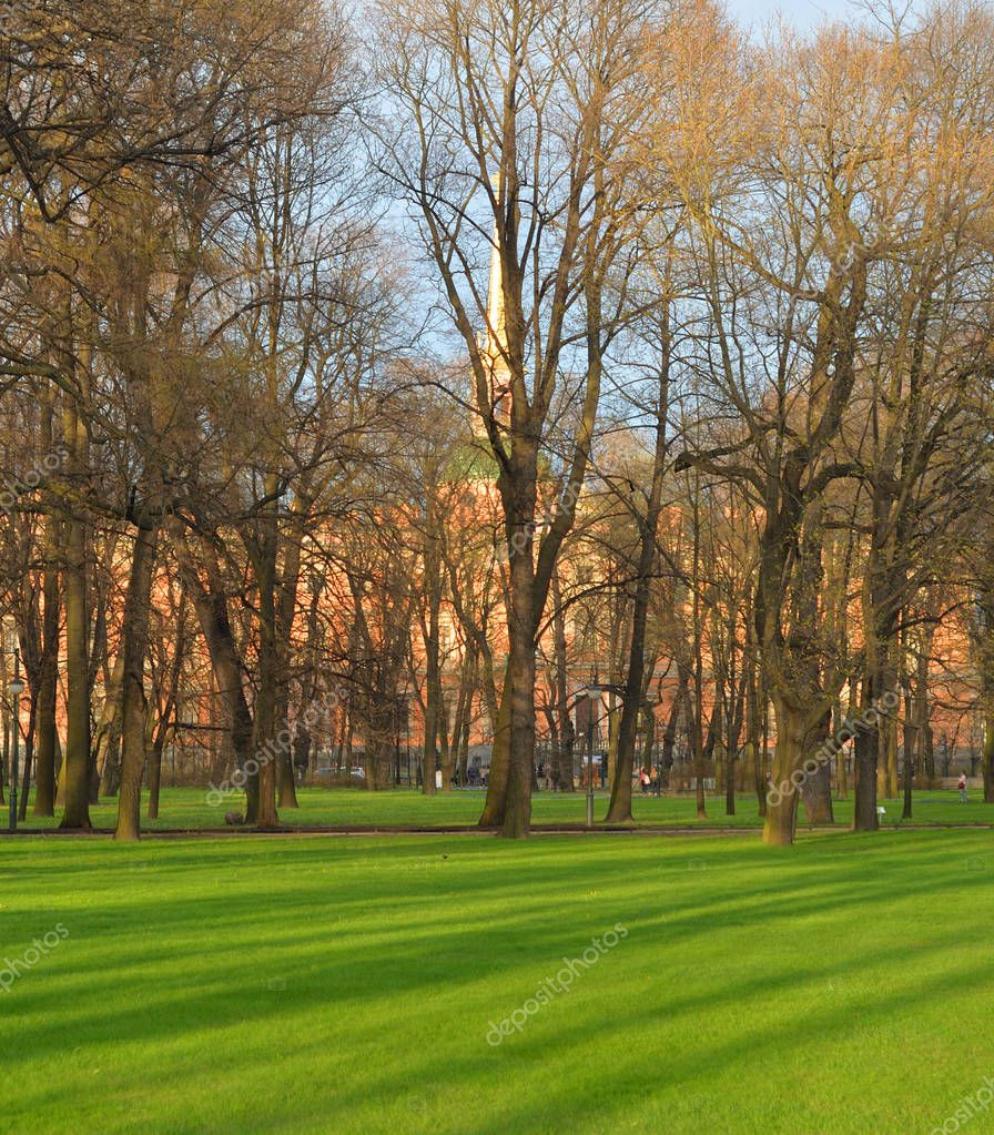 Mikhailovsky Garden at spring.