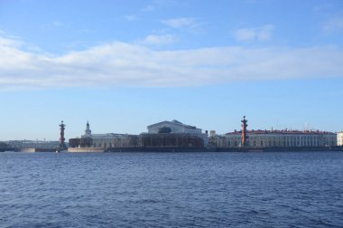 View of the Neva river and Arrow of Vasilievsky island at sunny spring day n St. Petersburg, Russia.