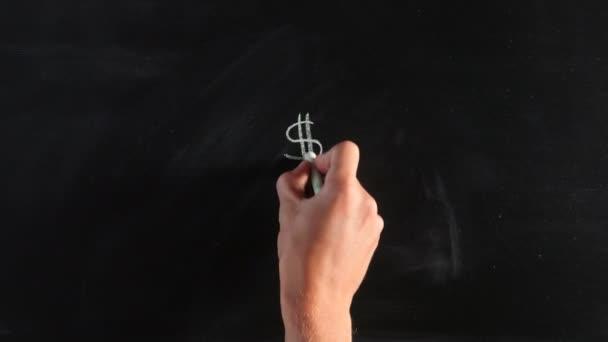 Zeichnung Geld Zeichen mit Kreide