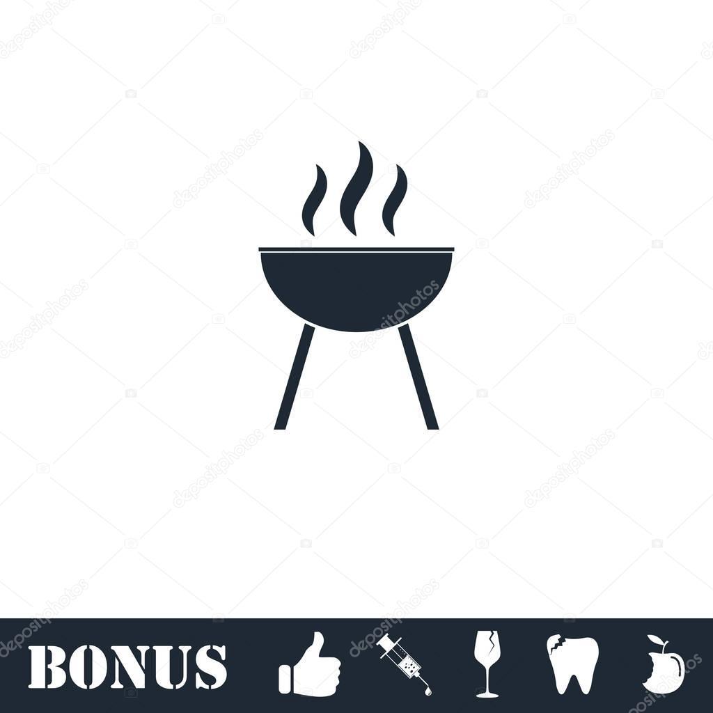 Roaster bbq icon flat