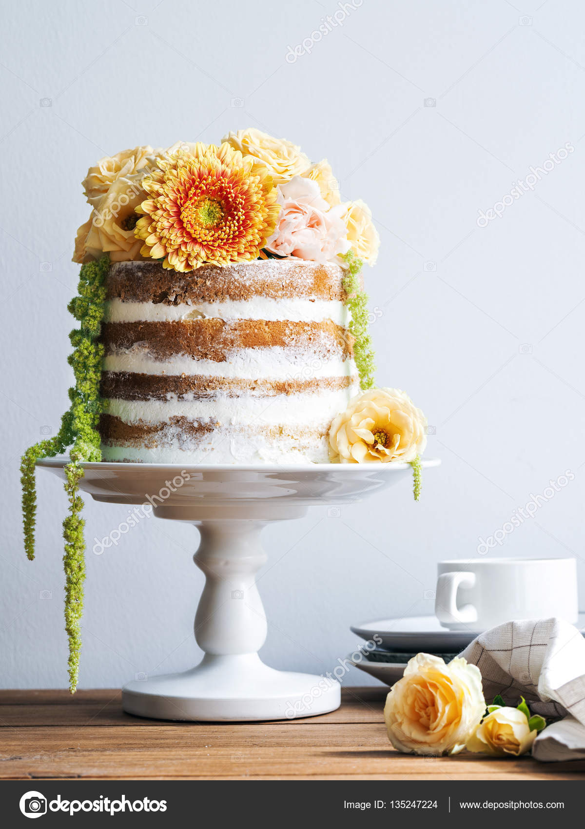 Wedding cake with beautiful flowers Stock Photo SVMelnikoff