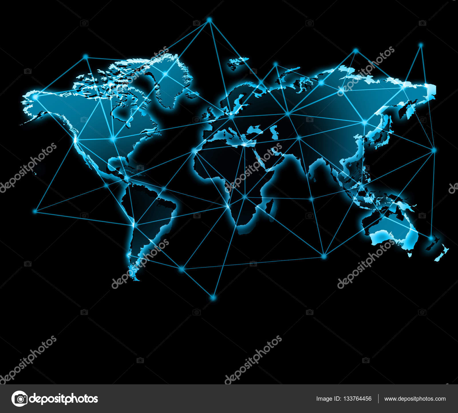 World map on a technological background glowing lines symbols of world map on a technological background glowing lines symbols of the internet radio gumiabroncs Choice Image