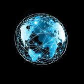 Nejlepší Internet koncept globálního podnikání. Glóbus, zářící linky na technologické zázemí. Wi-Fi, paprsky, symboly, Internet, 3d obrázek