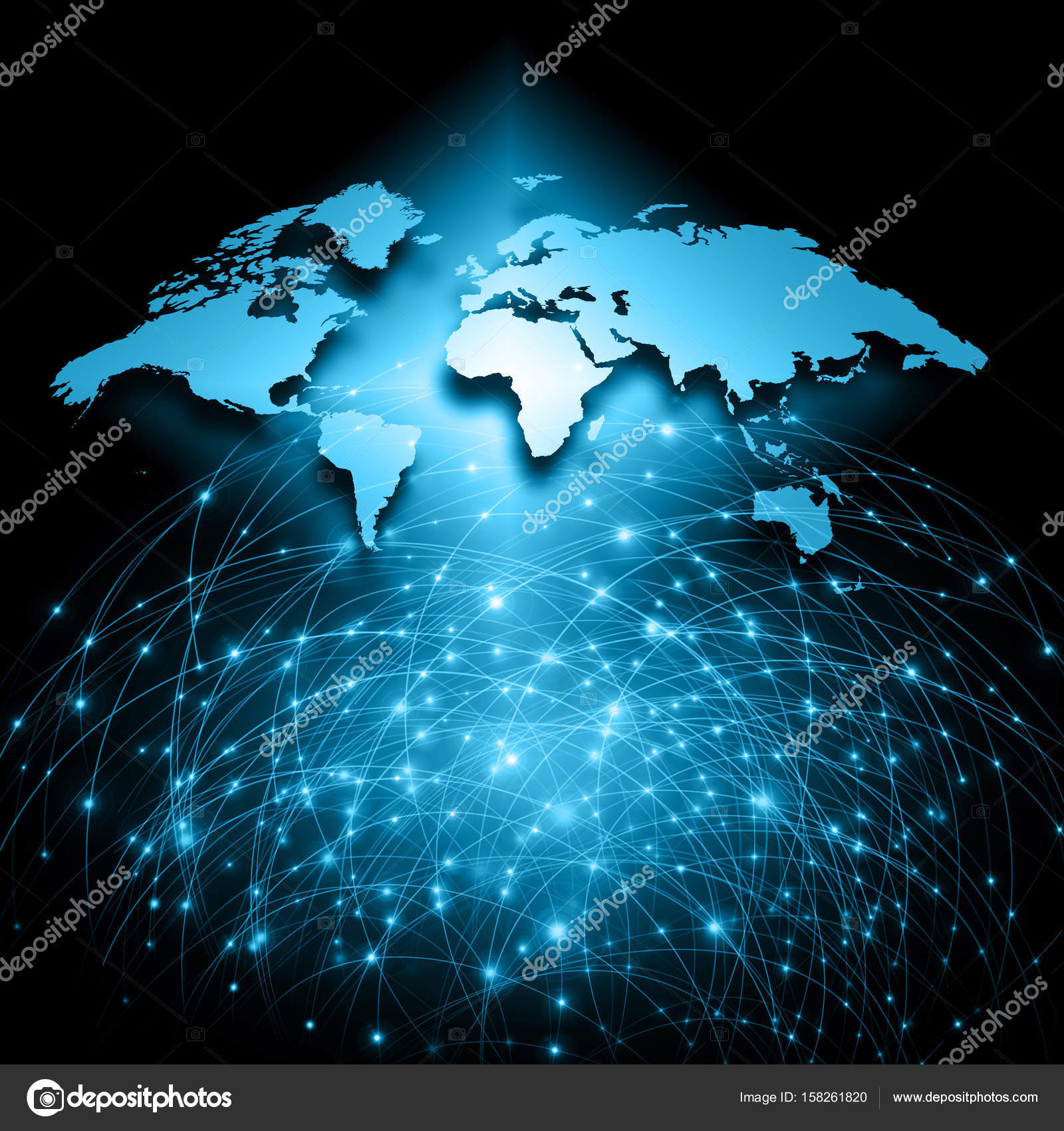 World map on a technological background glowing lines symbols of world map on a technological background glowing lines symbols of the internet radio television mobile and satellite communications gumiabroncs Image collections