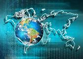 Země z vesmíru. Nejlepší Internet koncept globálního podnikání ze série konceptů. Prvky tohoto obrazu, které Nasa. 3D obrázek