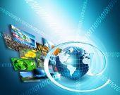 Legjobb Internet fogalma, a globális üzleti. Globe, izzó vonalak a technológiai háttér. Wi-Fi-vel, sugarak, szimbólumok, Internet, 3D-s illusztráció