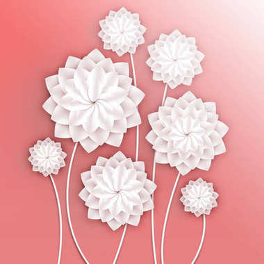 Paper flowers. Volumetric floral background. 3d Illustration for postcard, decor, invitation card