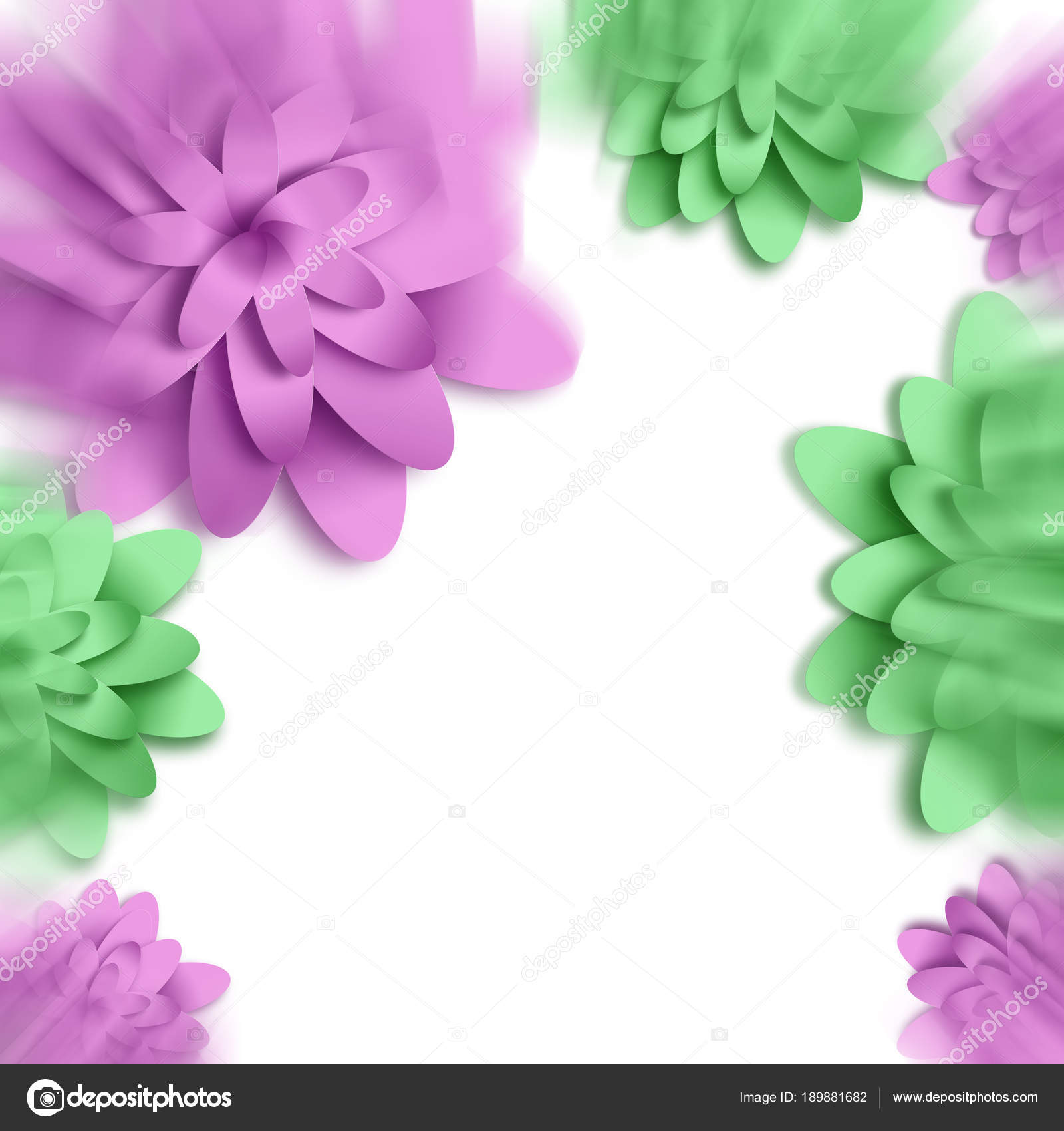 Flowers 3d Background With On White Background Templates For