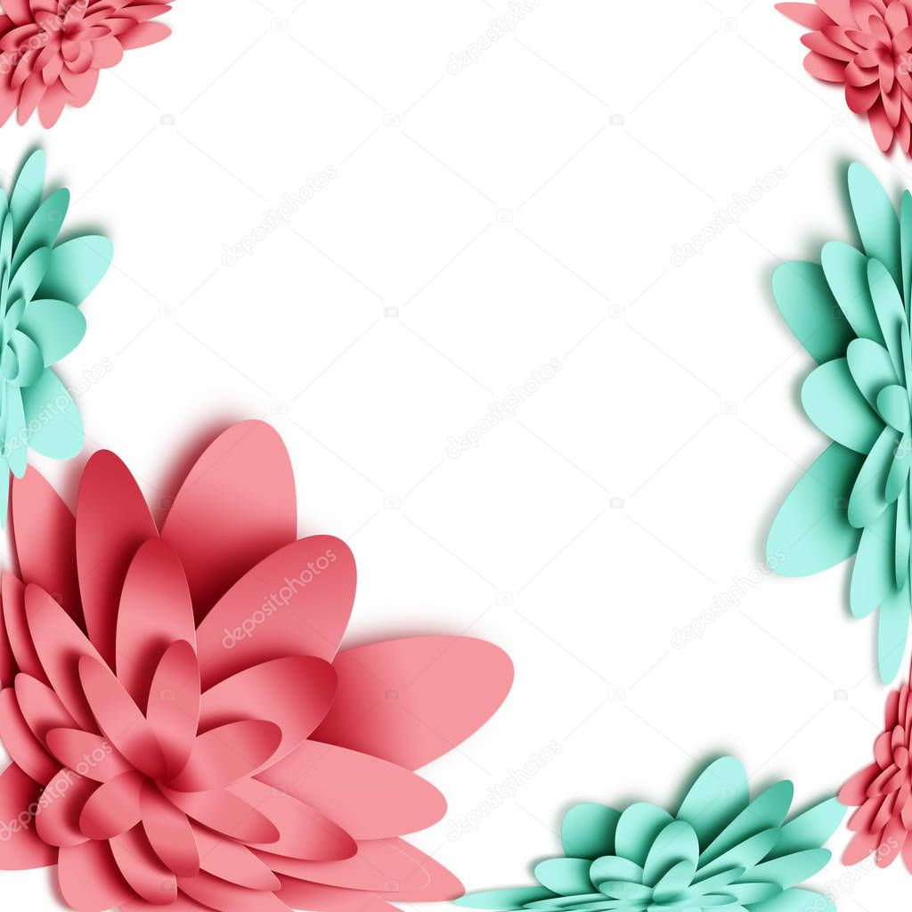 Flowers 3d background with on white background. Templates for greeting cards, placards, banners, flyers. Paper art. Suitable for social networks