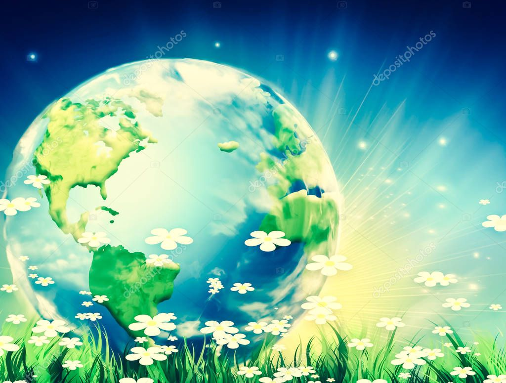 Ecological concept of the environment with the cultivation of trees. Planet Earth. Physical globe of the earth. Elements of this image furnished by NASA. 3D illustration