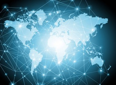 World map on a technological background, glowing lines symbols of the Internet, radio, television, mobile and satellite communications.