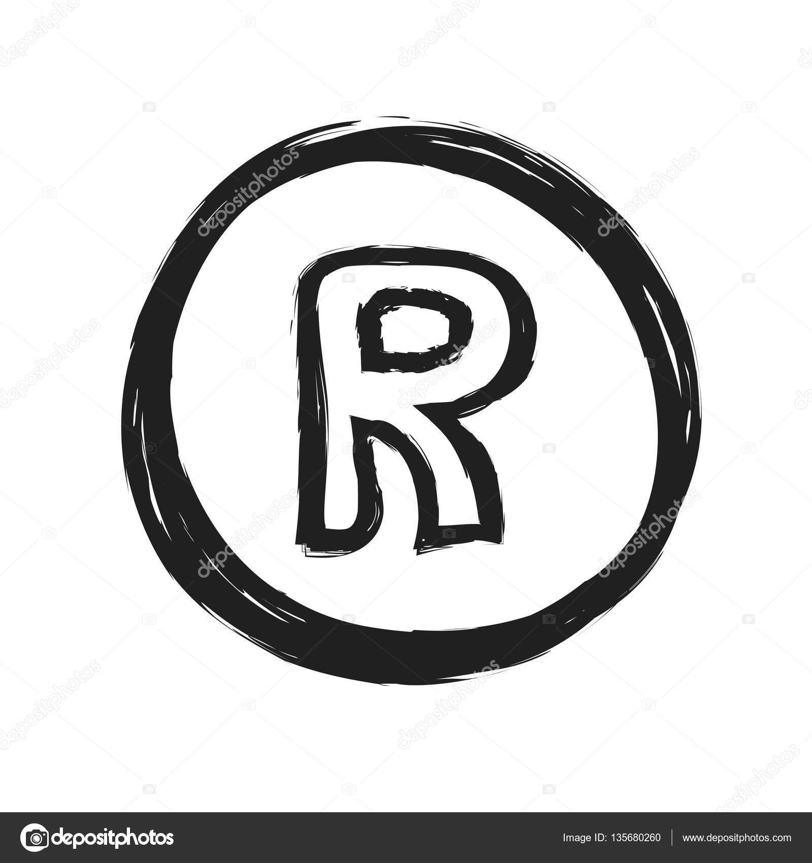 Grunge Symbolen For Registrerat Varumarke Illustration