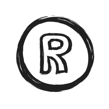 grunge registered trademark symbol, illustration