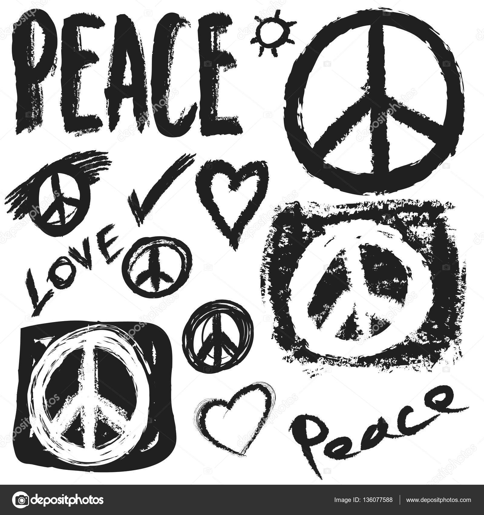 Retro Design Of Peace Love And Music Design Element Stock Photo