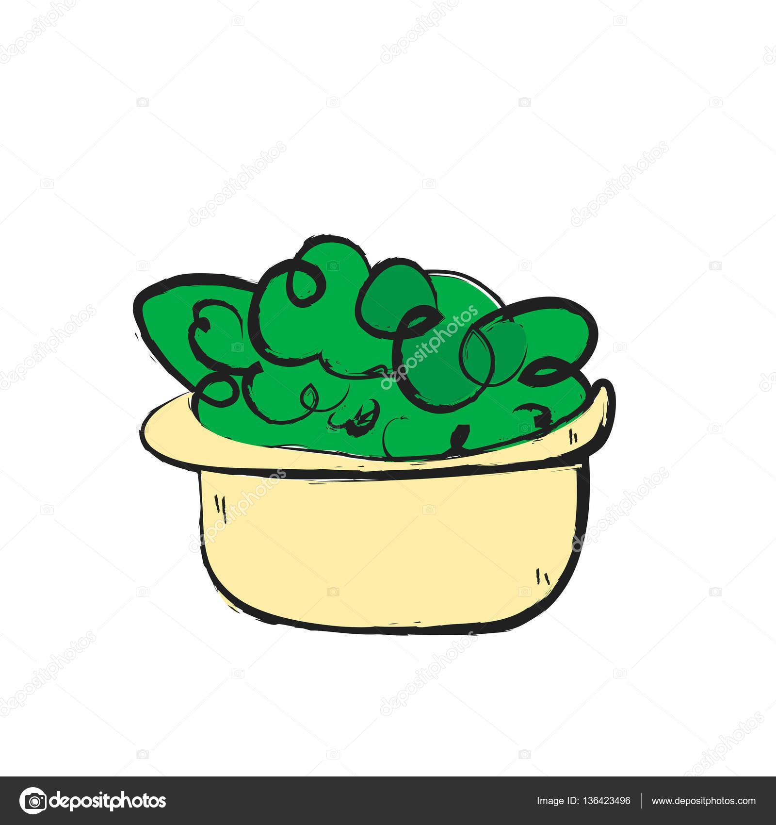 Salade De Dessin Animé Icône De Doodle Photographie