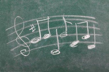 Musical note on chalkboard, blackboard texture