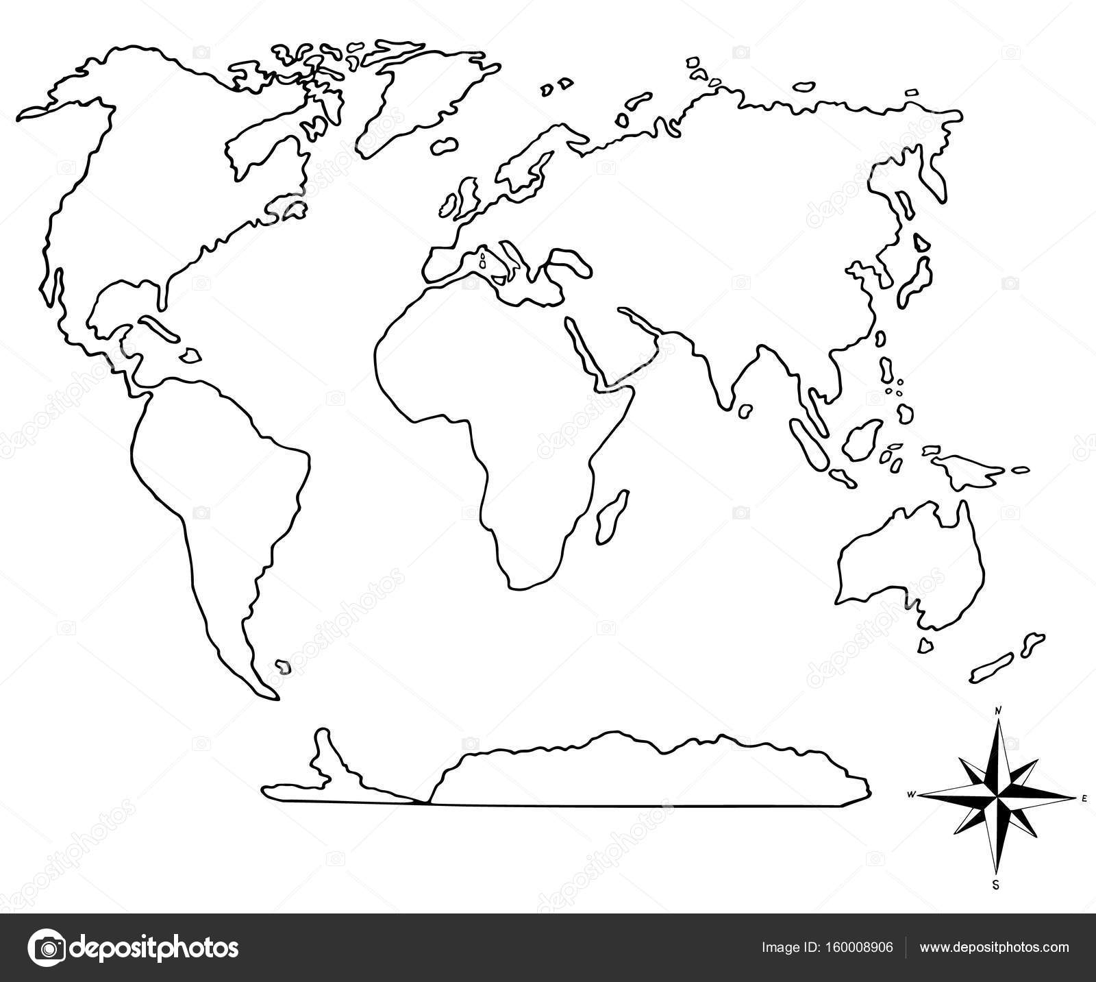 World map and compass hand drawn stock vector olena0107 160008906 world map and compass hand drawn stock vector gumiabroncs Choice Image