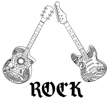 Acoustic and electric guitars with rock letters hand drawn