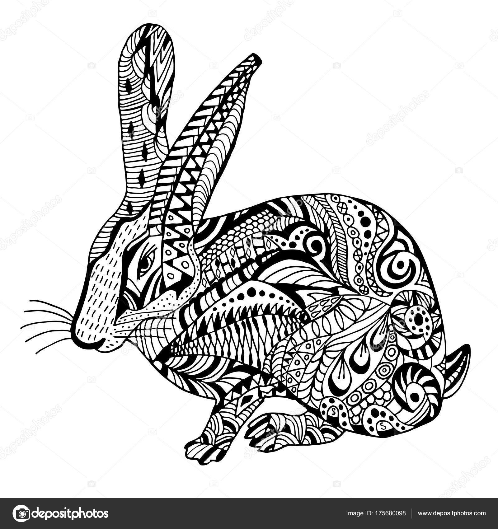 Tavşan Elle çizilmiş Doodle Graghic Stok Vektör Olena0107 175680098