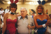 Minnesota Fats Famous Pool Player With Two Playboy Bunnies.
