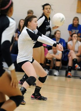 High School Girls Volleyball game action being played in Arizona.