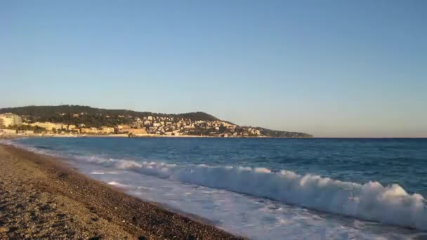 Timelapse of the beach of Nice at sunset
