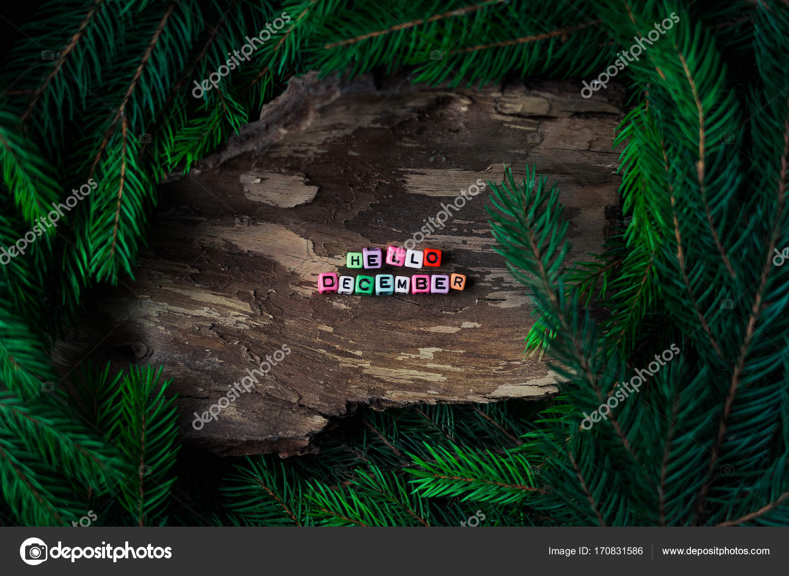 Colored Small Letters Of Cubes Decoration On A Wooden Background With  Branches Of A Christmas Tree. Concept: Hello December. U2014 Photo By Elijah_sad