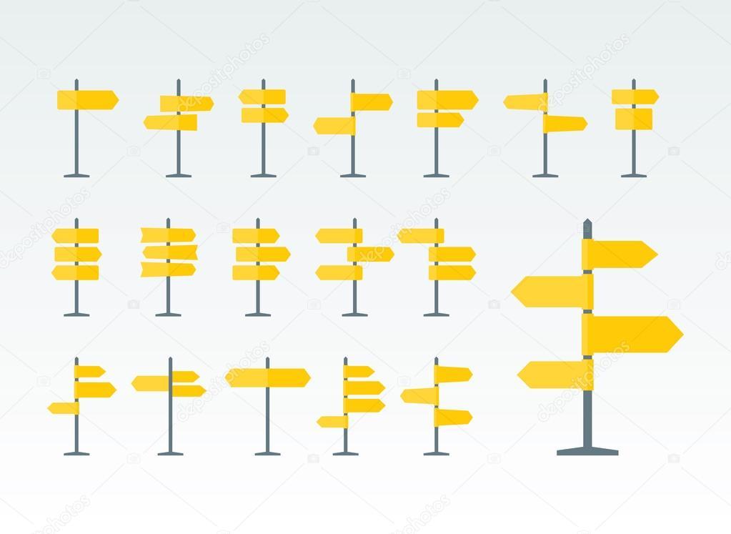 Mapa Plano Con Pin Icono De Puntero De La: Señales De Tráfico Y Punteros Planos Icons Set
