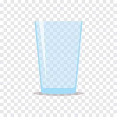 Empty transparent glass for water or juice. Flat icon isolated on checkered background. Stylized vector eps10 illustration with transparency.