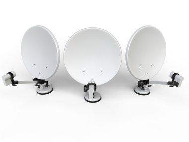 Three white TV satellite dishes - top view
